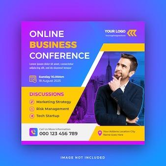 Zakelijke conferentie sociale media post vierkante webbanner sjabloonontwerp