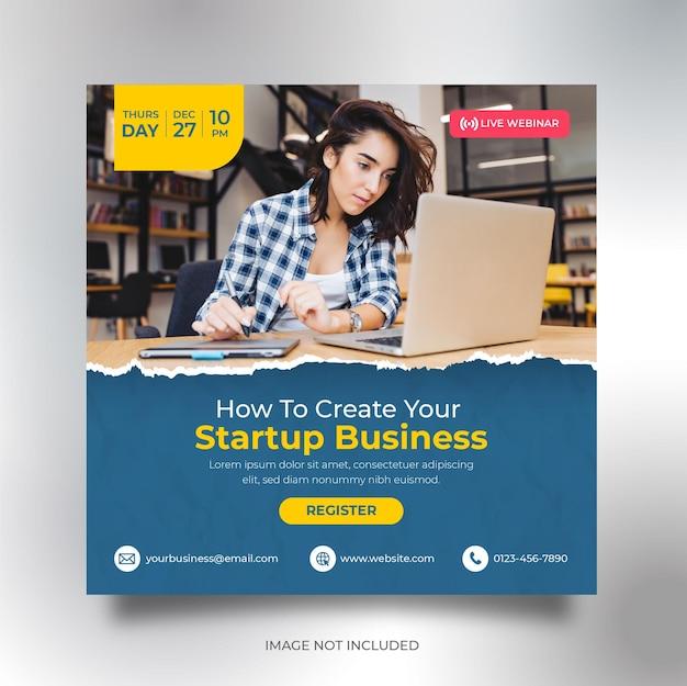 Zakelijke conferentie sociale media sjabloon voor spandoek vierkante flyer