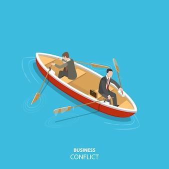Zakelijke conflict plat isometrische concept. twee zakenlieden zitten in dezelfde boot en proberen hem in de verschillende richtingen te verplaatsen.