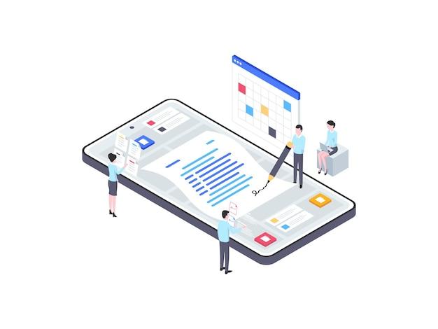 Zakelijke contract isometrische illustratie. geschikt voor mobiele app, website, banner, diagrammen, infographics en andere grafische middelen.