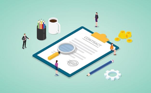 Zakelijke contractovereenkomst met teammensen analyseren gegevens