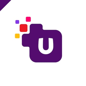 Zakelijke corporate vierkante letter u lettertype logo ontwerp