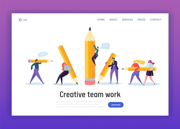 Zakelijke creatieve copywriter teamwerk bestemmingspagina. getrokken mensen met potlood. werkdoel van blogger. onderwijs job leader succes website of webpagina. platte cartoon vectorillustratie
