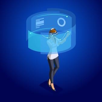 Zakelijke dames met gadgets, jonge ondernemer, beheert gadgets via online, virtueel scherm, virtual reality