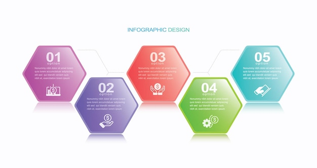 Zakelijke data visualisatie tijdlijn infographic pictogrammen ontworpen voor abstracte achtergrond