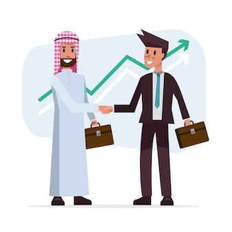 Zakelijke deal handdruk met arabische en europese etnische mannen