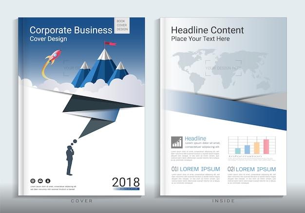 Zakelijke dekking boek ontwerpsjabloon met infographic element