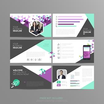 Zakelijke dia driehoeksjabloon presentatie bedrijf
