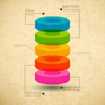 Zakelijke diagramsjabloon met platte tekstvelden en secties