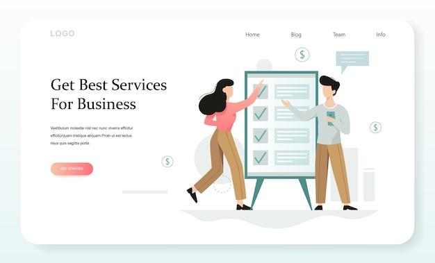 Zakelijke dienstverlening concept. idee om het bedrijf in elk stadium van zijn ontwikkeling te ondersteunen. assistentie bij het verlenen van boekhoudkundige, fiscale, management- en juridische ondersteuning van bedrijven. webbanner concept