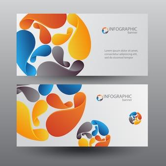 Zakelijke digitale horizontale banners met kleurrijke cyclusbladen