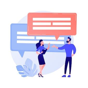 Zakelijke discussie. verbale communicatie, gesprek met collega's, bedrijfsconferentie. onderhandelingen over partnerschapsvorming. office vergadering.