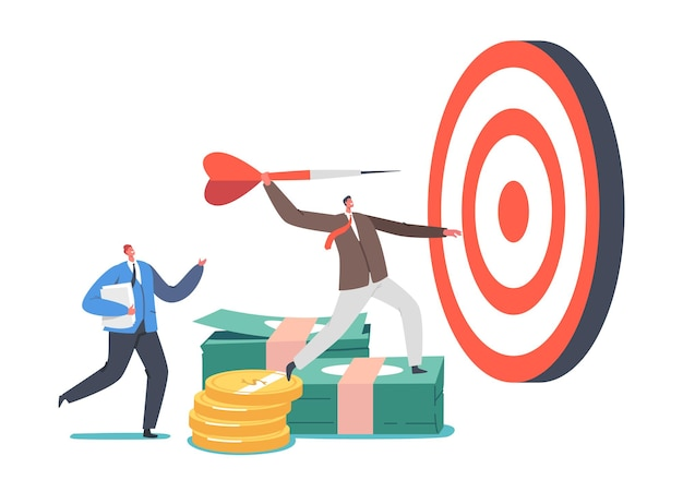Zakelijke doelen prestatie concept. klein zakenmankarakter gooit darts naar enorm doelwit. doel missie uitdaging, taakoplossing, hooggroeiende risico-investering. cartoon mensen vectorillustratie