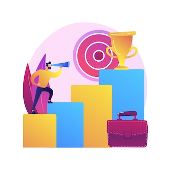 Zakelijke doelen stellen. bedrijfsontwikkeling, inkomen verhogen, leiderschap nastreven. zakenman inkomen stimuleren vastberadenheid. succesvolle ondernemer