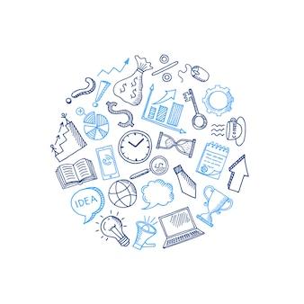 Zakelijke doodle pictogrammen in cirkelvorm