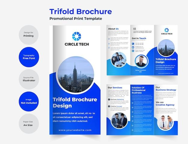 Zakelijke driebladige brochuresjabloon met modern design