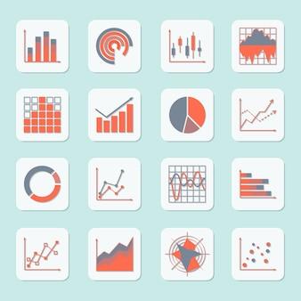 Zakelijke elementen vooruitgang groei trends grafieken diagrammen en grafieken pictogrammen instellen geïsoleerd