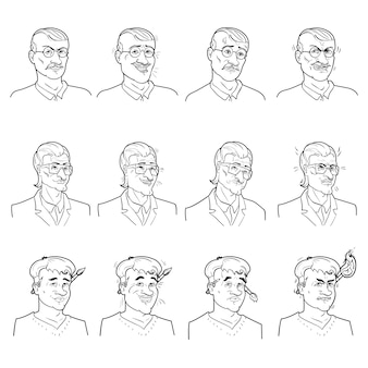 Zakelijke emoties avatars set