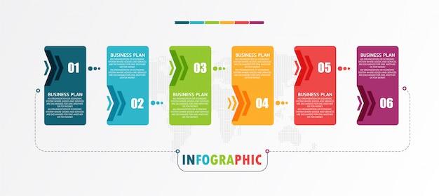 Zakelijke en educatieve diagrammen volgen de stappen die worden gebruikt om de presentatie samen met de studie te presenteren.