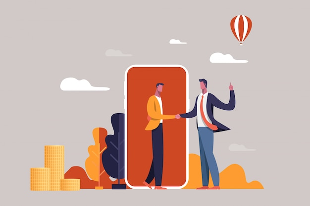 Zakelijke en financiële concept. handdruk partnerschap vlakke afbeelding