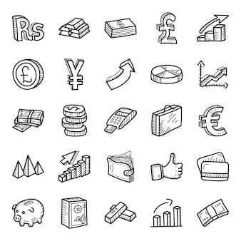 Zakelijke en financiële hand getrokken pictogrammen pack