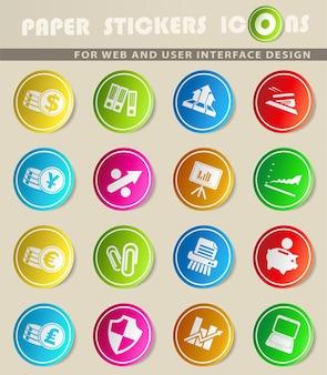 Zakelijke en financiële vectorpictogrammen op stickers van gekleurd papier