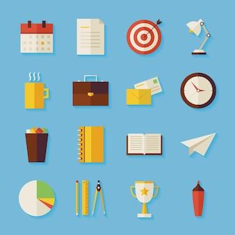 Zakelijke en kantoorobjecten instellen met schaduw. platte gestileerde vectorillustraties. terug naar school. wetenschap en onderwijs set. succes en leiderschap. verzameling van objecten op blauwe achtergrond