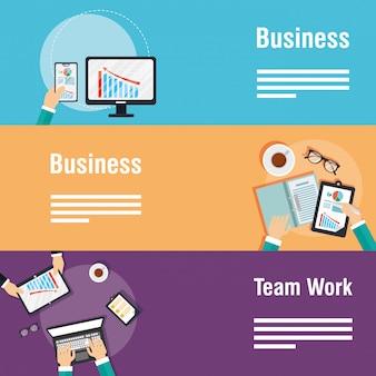 Zakelijke en teamwerk banners met gadgets