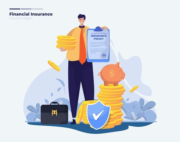Zakelijke financiële investeringen verzekeringspolis illustratie
