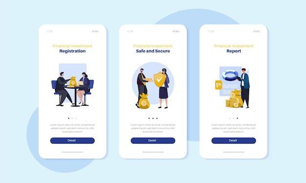 Zakelijke financiële investeringsillustratie op mobiel schermconcept aan boord