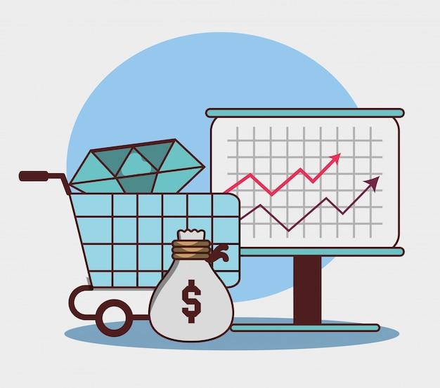 Zakelijke financiële pijl economie groei zak geld diamant