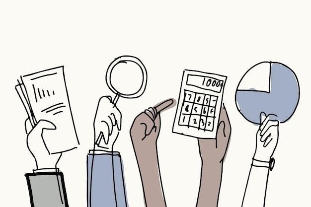 Zakelijke financiën doodle vector handen met objecten