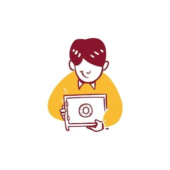 Zakelijke financiën man beschermen geld besparen in kluis pictogram illustratie overzicht hand getrokken styl