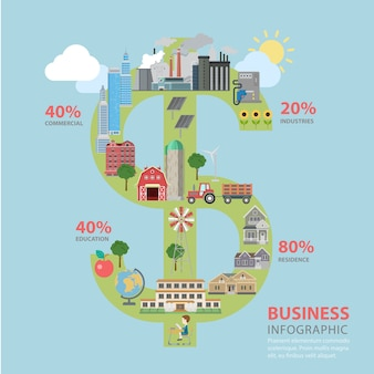 Zakelijke financiën succes dollarteken vorm vlakke stijl thematische infographics concept
