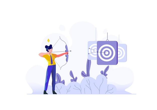 Zakelijke financiën vrouw gericht op markt zakelijke doelen karakter vlakke stijl vectorillustratie