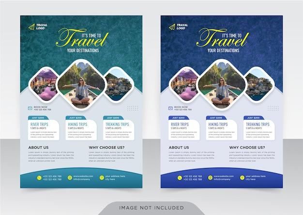 Zakelijke flyer en voorbladsjabloon voor reisbureau