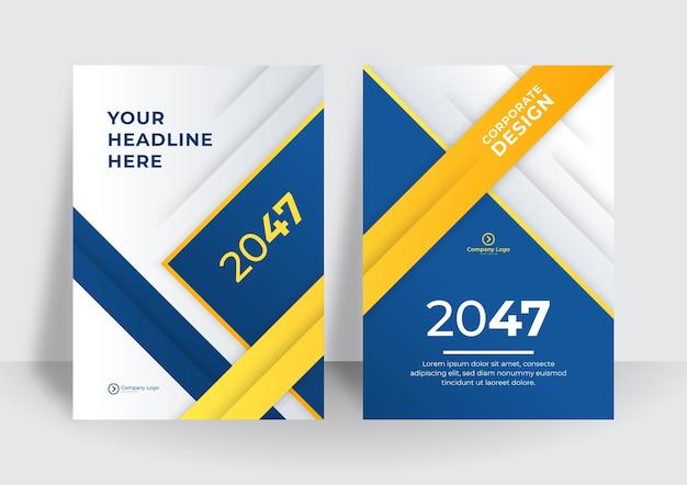 Zakelijke flyer lay-outsjabloon in a4-formaat. moderne brochure sjabloon cover ontwerp, jaarverslag met blauwe geometrische en golvende lijnen voor zakelijke promotie op witte achtergrond, vectorillustratie