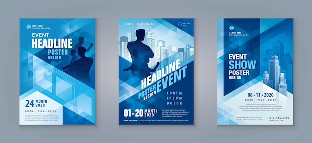 Zakelijke flyer set. lay-out sjabloon, abstracte blauwe geometrische driehoek