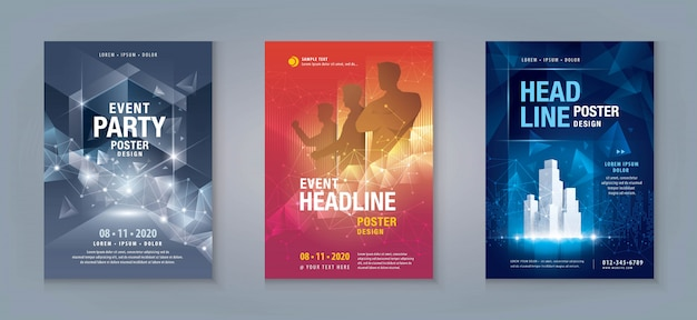Zakelijke flyer set. lay-out sjabloon, abstracte techno geometrische achtergrond