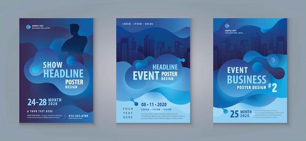 Zakelijke flyer set. lay-out sjabloon, abstracte vloeibare vorm vloeibaar ontwerp
