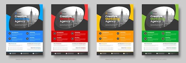 Zakelijke flyer sjabloon ontwerpset met blauw geel, rood en groen kleur