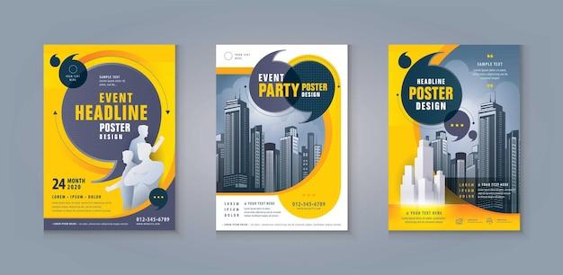 Zakelijke folder brochure flyer sjabloon ontwerp set abstracte zwarte en gele tekstballonnen dekking