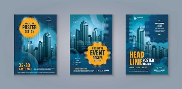 Zakelijke folder brochure flyer sjabloon ontwerp set moderne abstracte blauwe gloeiende cirkels poster