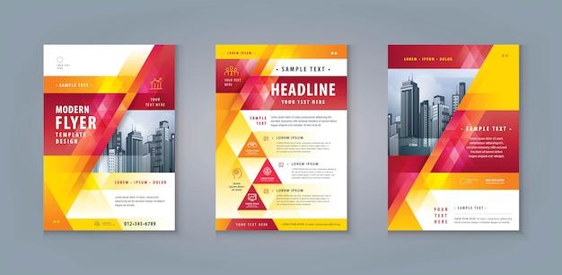 Zakelijke folder flyer sjabloon ontwerpset. corporate flyer-sjabloon a4-formaat Premium Vector