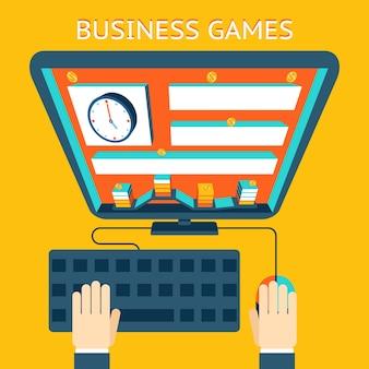 Zakelijke gamification. geld verdienen als een spel. competitie en doel, niveau en munt. vector illustratie