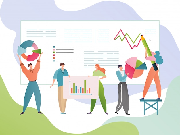 Zakelijke gegevens analyse illustratie. mensen stripfiguren analyseren statistische informatie. analytisch onderzoeksconcept.