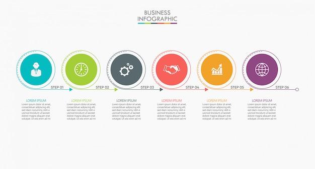 Zakelijke gegevens tijdlijn infographic stap pictogrammen