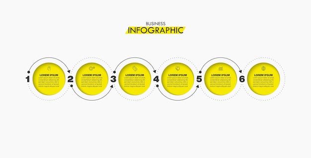 Zakelijke gegevens visualisatie tijdlijn infographic pictogrammen ontworpen voor abstracte achtergrond sjabloon