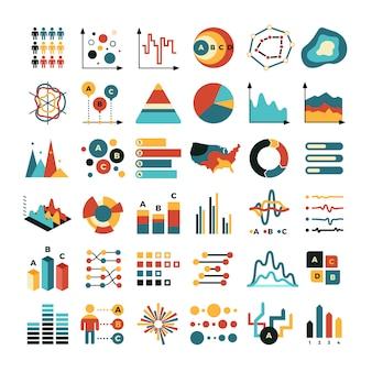 Zakelijke gegevensgrafiek en grafieken. marketing statistieken vector plat pictogrammen