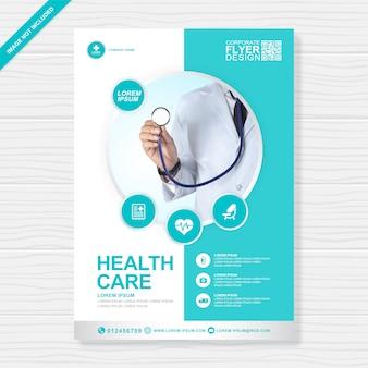 Zakelijke gezondheidszorg en medische dekking a4 flyer ontwerpsjabloon